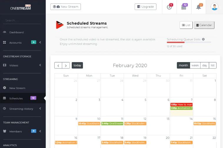 onestream live calendario