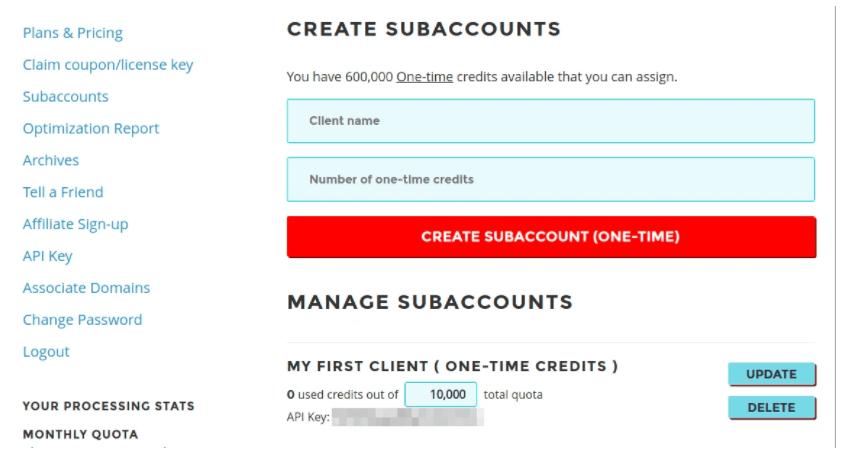 shortpixel sub account