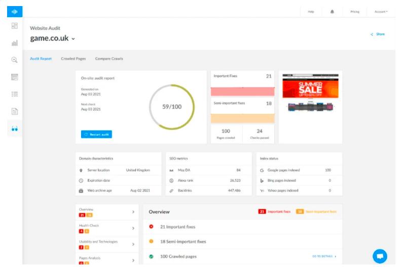 ranktracker website audit